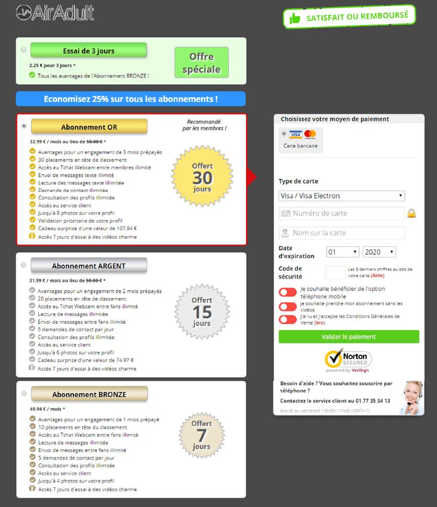 capture ecran page des offres tarifaires et abonnement airdault