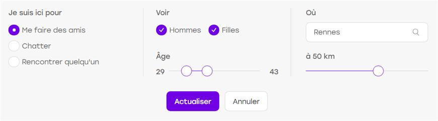 module de recherche badoo
