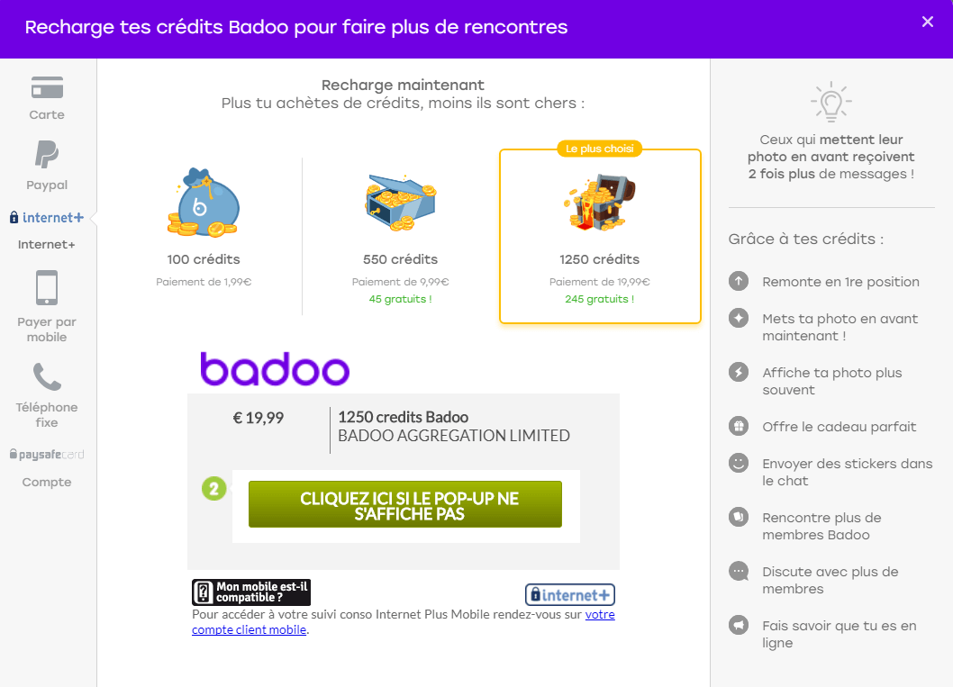 screenshot prix pack credit badoo