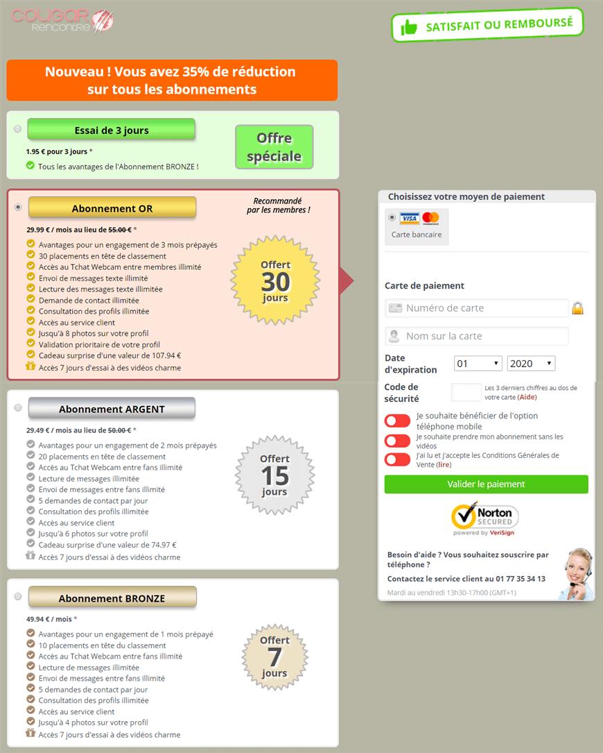 screenshot offre pack abonnement cougar-rencontre-net