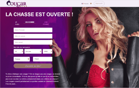 screenshot page accueil CougarDiva