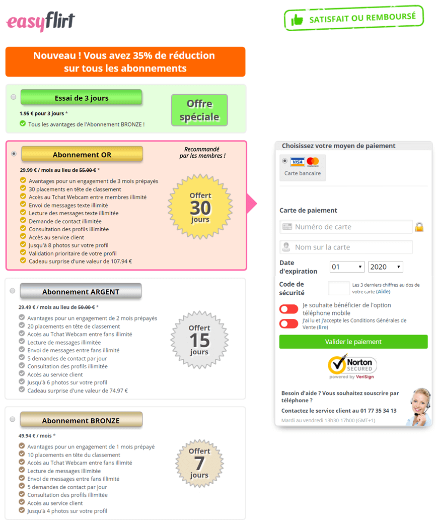 screenshot page tarifs packs abonnement easyflirt