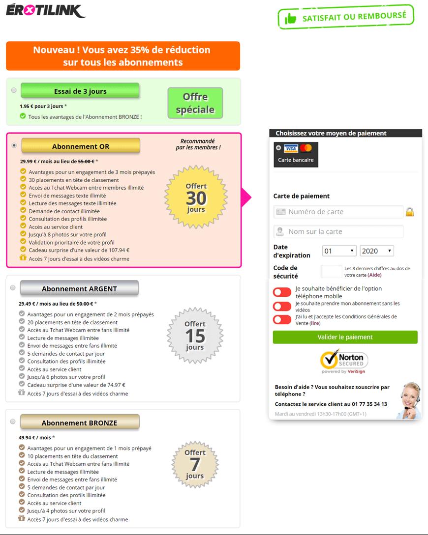 screenshot page tarifs pack abonnement erotilink