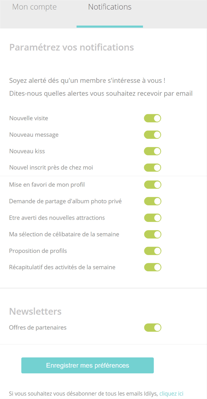 screenshot page gestion alertes et notification idilys