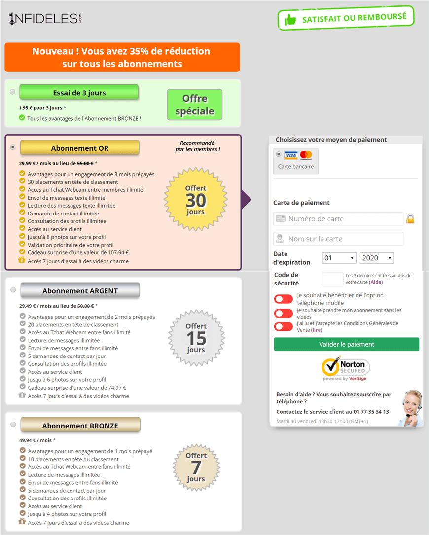 page tarifs packs abonnement site infideles-com