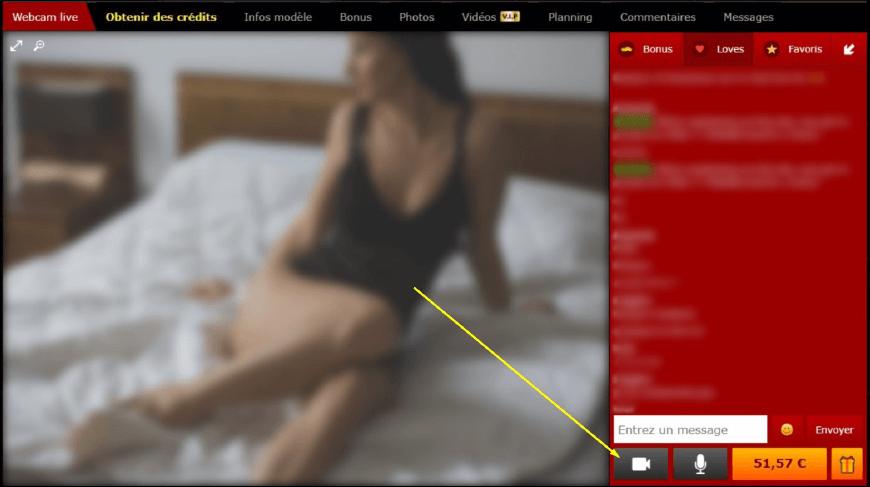 interface utilisateur chat modele xlovecam