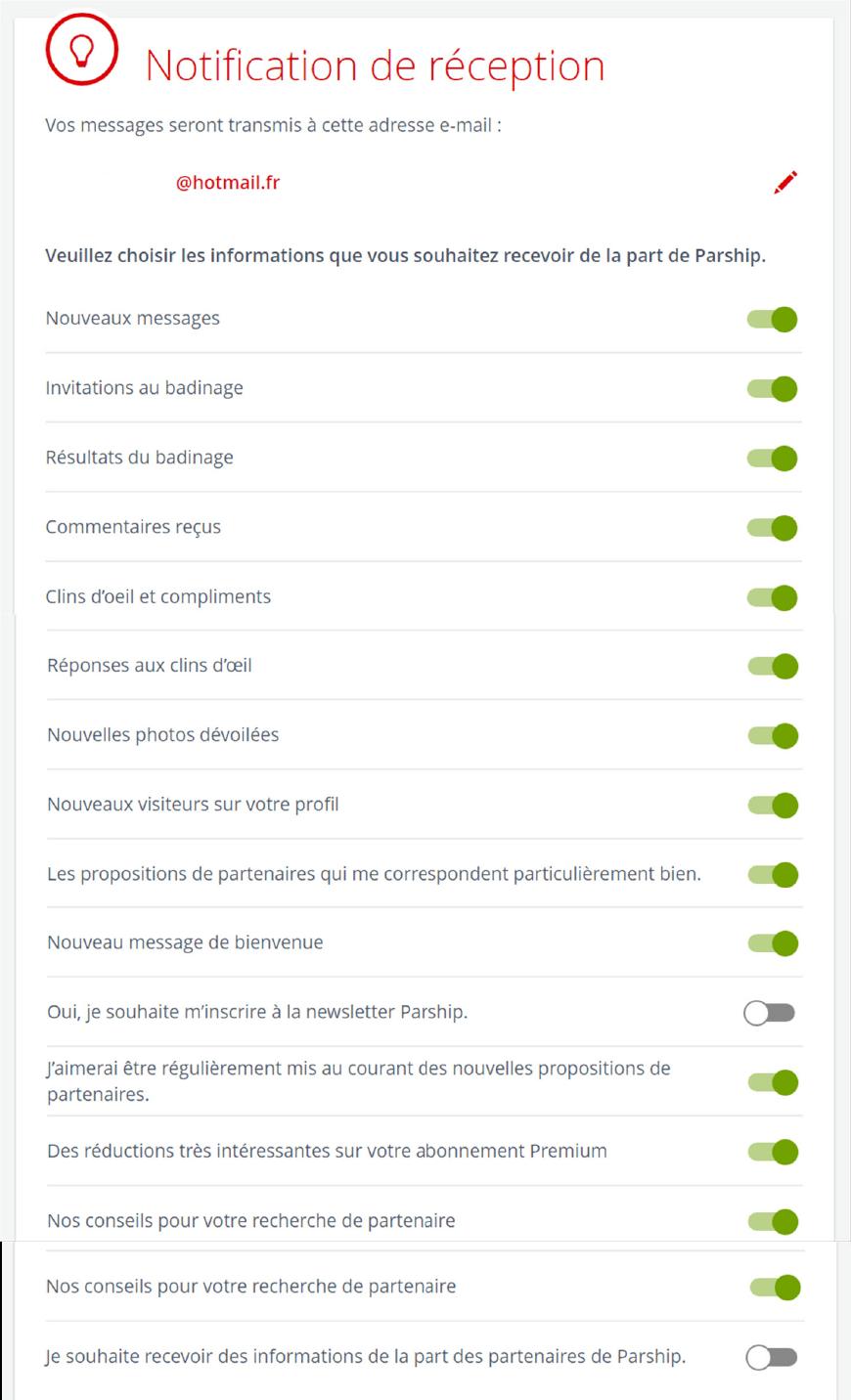 gestion des notification parship