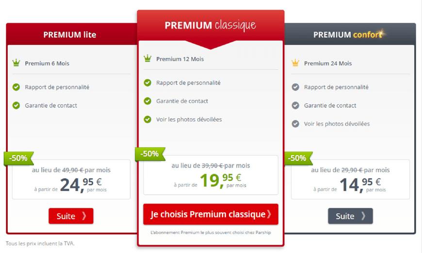 page tarifs abonnement parship