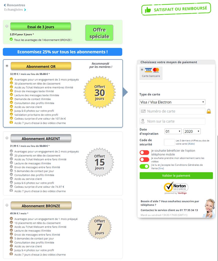 pack tarifs abonnement rencontre-echangistes-fr