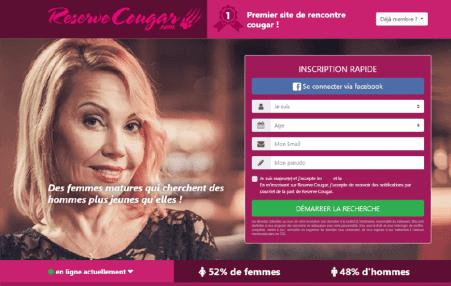 screenshot page accueil Reservecougar.com