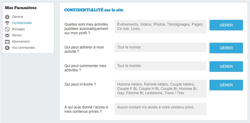 page gestion confidentialite netechangisme wyylde