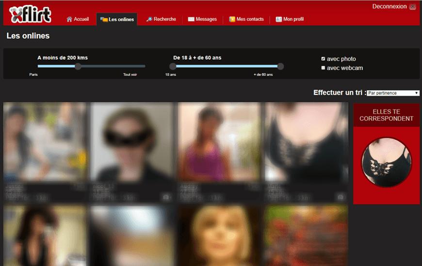 page interface membres xflirt